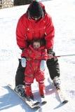 如何倾斜的滑雪 免版税库存图片