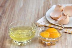 如何分离蛋白和卵黄质 免版税库存图片