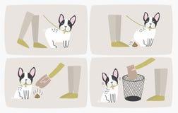 如何拾起狗船尾使用塑料袋和投掷它在垃圾箱、逐步指南或者指示 清洁方式  库存例证