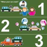 如何要求帮助,当汽车乘汽车撞并且被扯拽了 库存照片