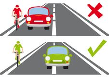 如何追上路正确方法的一个骑自行车者 皇族释放例证