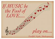 如果音乐是爱戏剧在的莎士比亚华伦泰食物  库存照片