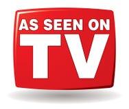 如被看见在电视商标 免版税库存图片