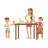 主妇和儿童烹调 皇族释放例证