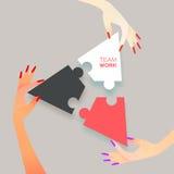 妇女一起合作工作 企业例证JPG人向量 在复制空白曲线锯的部分难题空间之上 免版税库存图片
