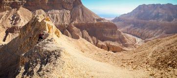 妇女上升的沙漠山土坎全景 库存图片