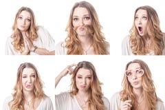妇女不同的表情拼贴画 免版税库存照片