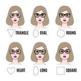 妇女不同的面孔形状的太阳镜形状 库存照片