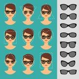 妇女不同的面孔的太阳镜形状 免版税库存照片