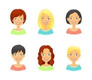 妇女不同的类型和颜色发型  免版税库存照片