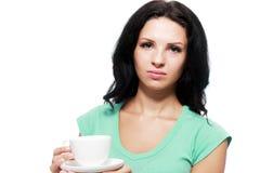 妇女不喜欢她的饮料 免版税库存照片