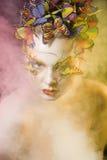 妇女与创造性的夏天组成象神仙 图库摄影