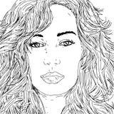 妇女与长的头发的` s面孔筛选油墨画象 免版税库存照片
