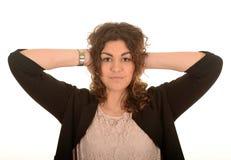 妇女与移交耳朵 免版税图库摄影