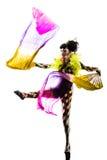 妇女丑角马戏舞蹈家执行者剪影 免版税库存照片