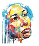 妇女丙烯酸酯的绘画颜色画象  库存图片