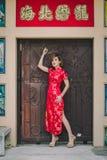 妇女中国人qipao 免版税库存图片