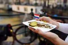 妇女举行板材著名鲱鱼钓鱼用葱和黄瓜在阿姆斯特丹上,荷兰快餐市场  库存照片