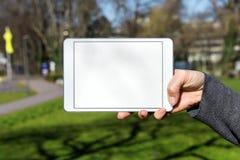 妇女举行的白色空白的片剂 免版税库存图片