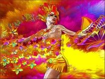 妇女五颜六色的摘要有花和蝴蝶的 免版税库存图片