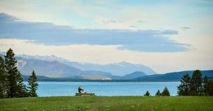 妇女享受山和湖视图 免版税图库摄影