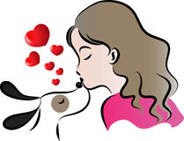 妇女亲吻狗 免版税库存照片