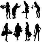 妇女传染媒介剪影  库存照片