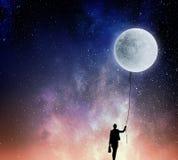 妇女传染性的月亮 混合画法 库存照片