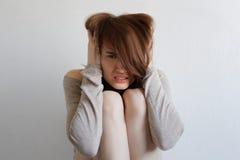 妇女体验生动的情感 免版税库存照片