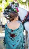 妇女佩带的佛拉明柯舞曲礼服 西班牙民间传说 图库摄影