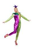妇女佩带的小丑服装 库存照片