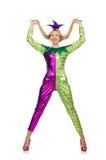 妇女佩带的小丑服装 免版税库存图片