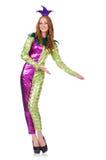 妇女佩带的小丑服装 图库摄影
