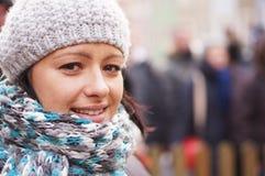 妇女佩带的帽子 免版税库存图片