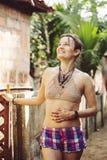 妇女佩带的钩针编织的胸罩 库存图片