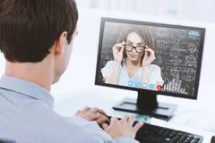 妇女佩带的玻璃的综合图象在白色背景的 免版税库存照片