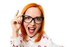 妇女佩带的cateye玻璃 免版税库存图片