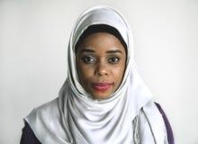 妇女佩带的hijab画象  免版税库存照片