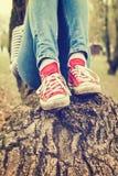 妇女佩带红色帆布运动鞋的` s腿 免版税库存图片