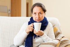妇女使用茶 免版税库存照片