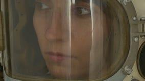 妇女俄国人宇航员 影视素材