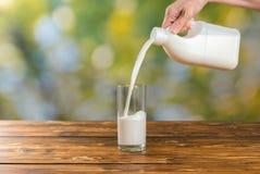 妇女倾吐的牛奶到一块玻璃里在庭院里 免版税库存图片