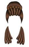 妇女假发头发卷毛 中世纪样式洛可可式,与花的巴洛克式的高hairdress小圆面包 皇族释放例证