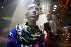 妇女假的商店窗口 免版税库存图片