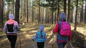 妇女做北欧走本质上 女孩和孩子使用迁徙的棍子和北欧杆,背包 家庭旅行 股票视频