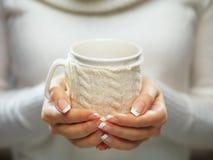 妇女停滞冬天杯子关闭 有典雅的法式修剪钉子的妇女手设计拿着一个舒适被编织的杯子 图库摄影