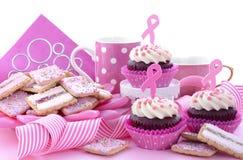 妇女健康了悟早晨茶的桃红色丝带慈善 库存图片