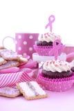 妇女健康了悟早晨茶的桃红色丝带慈善 免版税库存照片