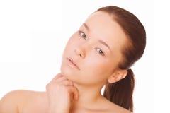 妇女健康干净的皮肤  免版税库存照片