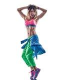 妇女健身excercises舞蹈家跳舞 免版税库存照片